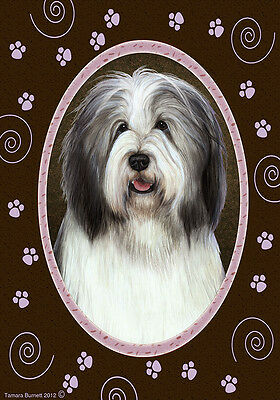 Large Indoor/Outdoor Paws Flag - Blue & White Bearded Collie 17170
