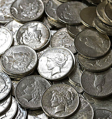 10 Peace Dollars Silver (1922 - 1935) Fine to Uncirculated $1 Mixed Mint Marks