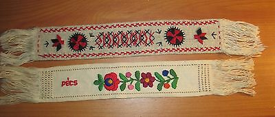 Set of 2 Vintage Hand Embroidered Linen Bookmarks Book Marks Flower PECS 11.5""