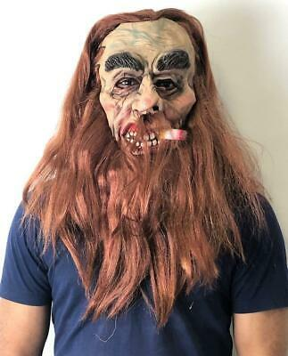Halloween Scary Mask With Hair Full Face Zombie Style Green Face Fancy Dress