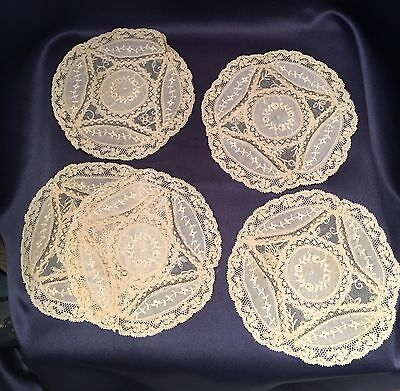 "Set of 5 Antique Normandy Lace 5 1/2"" Off White Rounds Doilies Napkins Nice Cond"
