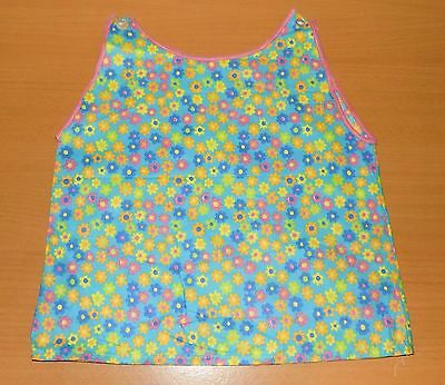 VINTAGE 1970's UNWORN TURQUOISE MULTICOLOURED FLORAL SLIP DRESS AGE 12 MONTHS
