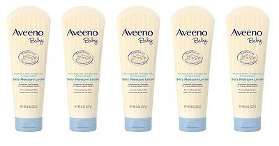 Lot of 5 Aveeno Baby Daily Moisture Lotion, 8 oz each