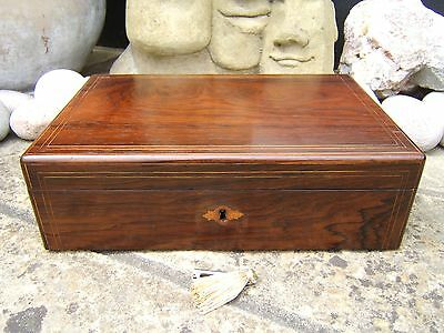 Superb 19C French Rosewood  Antique Document/jewellery Box - Fab Interior