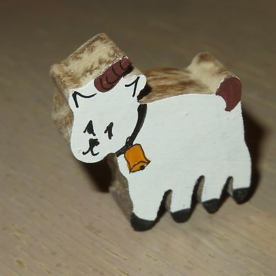 """Vintage Tiny 1.25""""  Wooden Goat Painted Front 1980's White w Bell"""