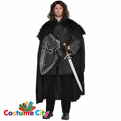 Black Furry Cloak Cape Game of Thrones Snow Nights Watch Fancy Dress Accessory