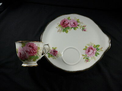 Royal Albert AMERICAN BEAUTY Tennis Plate Tea Cup Snack Dessert Appetizer Handle