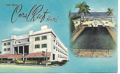 MIAMI BEACH, Fla. CORAL REEF HOTEL (Linen) 1940s Great Card