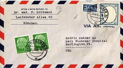Dr Jim Stamps Munich Germany Tied Multi Franked Airmail Cover 1953