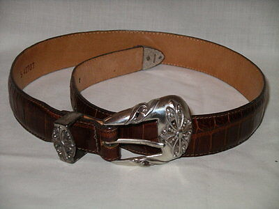 BRIGHTON BROWN Croc Embossed Leather & Silver Buckle Belt - S - Waists 25-28""