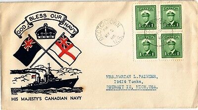 Dr Jim Stamps His Majestys Canadian Navy Tied Block Of 4 Canada Cover