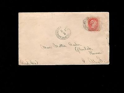 Canada New Westminster B.C 1891 Cancel to Kansas USA Queen Victoria 3c Cover  7m