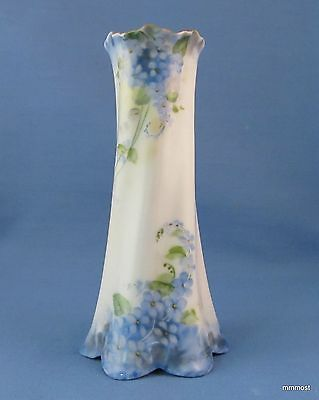 Antique Porcelain Hatpin Holder Hand Painted Forget-me-Nots Gilded Top