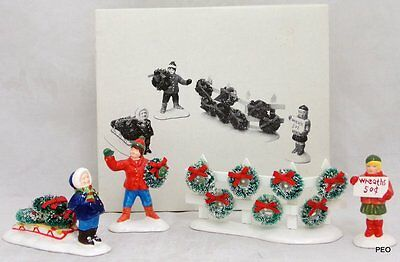 Department 56 Snow Village Wreaths for Sale Set of 4 Christmas with Box 54089