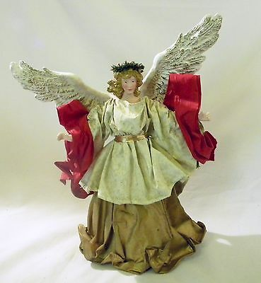 """Clothtique Possible Dreams 12"""" Tall Angel 1991 Red Gold Christmas"""