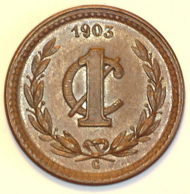Mexico 1903 C (Culiacan) 1 Centavo Brown Unc. (Scarce 536,000 Mintage)