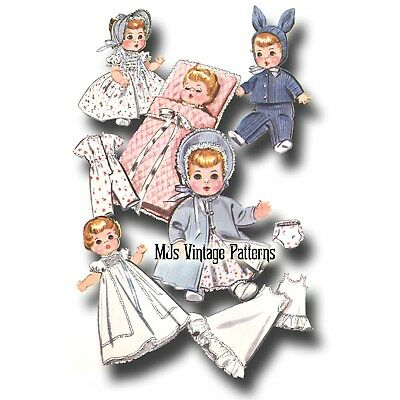 "Vtg 1950s Baby Doll Clothes Pattern ~ 11"" 12"" Tiny Tears, Betsy Wetsy, Dy Dee"