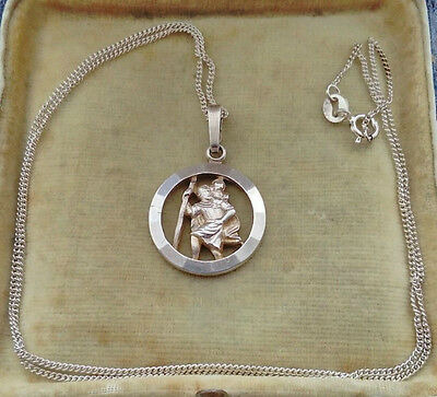 Vintage 925 Solid Silver St Christopher Necklace & Silver Chain