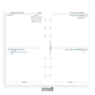 Filofax Two Days per Page 3 Lang 2018 Personal / Compact Size Calendar Refill