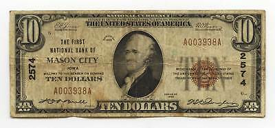 $10 Type 1, The First National Bank of MASON CITY, Iowa. Charter #2574.