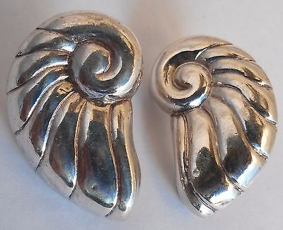 Early Vintage William Spratling Sterling Silver Seashell Clip Earrings Signed