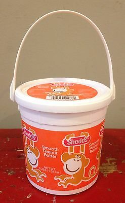 Vintage 1970's Shedd's Smooth Peanut Butter Bucket With Monkey Graphic, and Lid