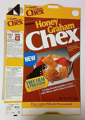 "Vintage 1986 Ralston ""NEW"" Honey Graham Chex Cereal Box,Free Film Processing"