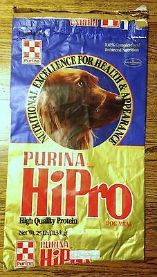 Vintage 1986 Purina Hi Pro Dog Meal Dog Food Bag,Packaging,Picardy Spaniel