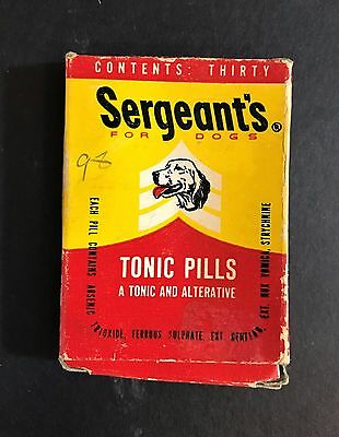 "Vintage 1950's Sergeant""s Dog Tonic Pills,Flea,Ticks,Veterinary Medicine Box"