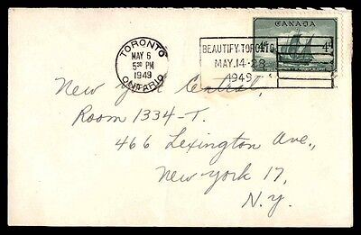 Canada Toronto Beautify Toronto May 6 1949 Cover to New York