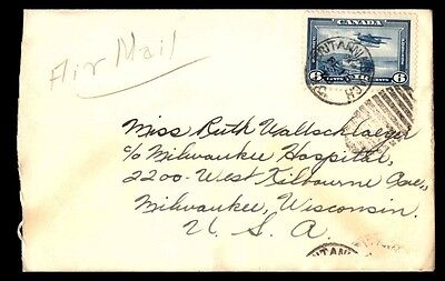 Canada Britannic Beach to Unted States 6c Airmail Cover