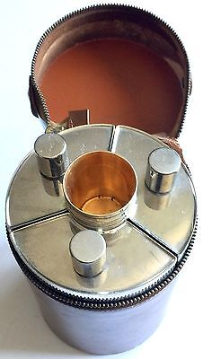 VINTAGE MARK CROSS TRIPLE 13oz FLASKS AND 4 CUPS SET ~ TIN LINED MADE IN GERMANY