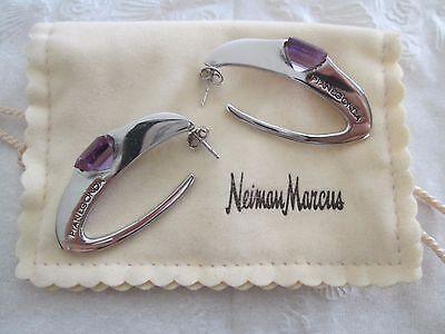 Pianegonda Cosmic Sterling Silver 925 Sterling Earrings w/Amethyst Drop *Italy