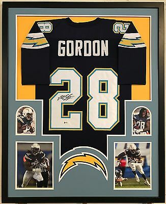 5a39661f3 MELVIN GORDON AUTOGRAPHED Signed Jersey Framed San Diego Chargers ...