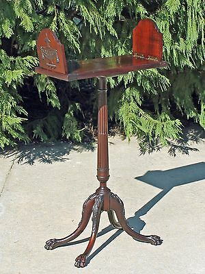 Antique Mahogany Adjustable Folding Sliding Bookstand Shelf Table Paw Feet c1900