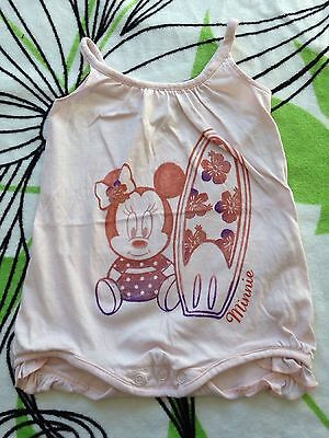 Adorable ☆☆☆ Petit Body Minnie Surfeuse Neuf Taille 9 Mois Bebe Fille ☆☆☆