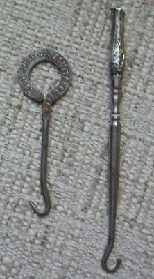 2 Vintage Antique Shoe Button Hooks, Advertising and Sterling