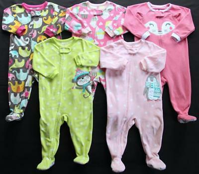 Girl Carter's 12 Months Footed Sleeper Pajamas Lot **Free Shipping**