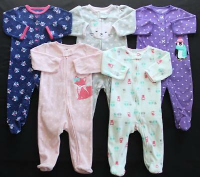 Girl Carter's 6/9 9 Months Footed Sleeper Pajamas Lot **Free Shipping**