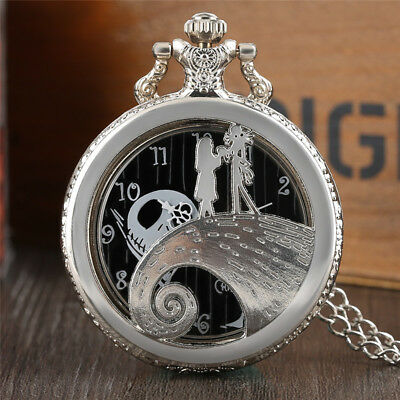 The Nightmare Before Christmas Silver Hollow Pocket Watch Pendant Men Women Gift