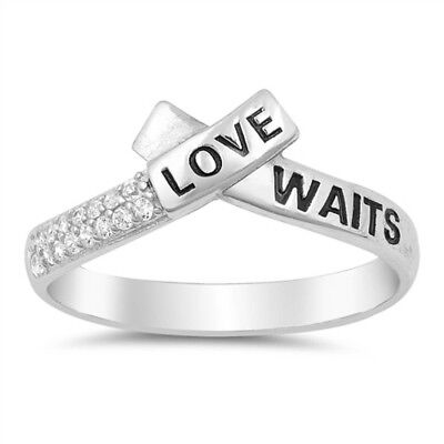 Clear CZ Love Script Stackable Promise Ring .925 Sterling Silver Band Sizes 4-10