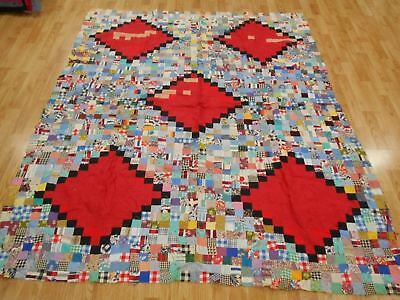 Vintage Antique POSTAGE STAMP FEEDSACK FABRIC 1930s Quilt Top 82x65