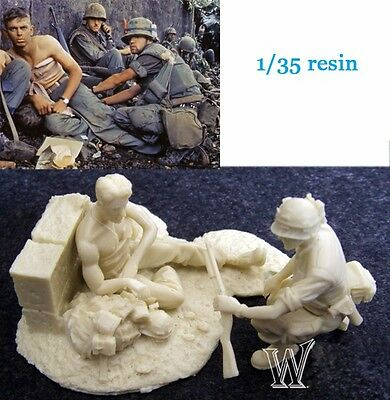 █ 1/35 Resin Wounded US Soldier Vietnam War with Base 2 Figures Unpainted TR395