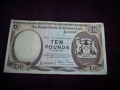 1985 Bank of Scotland 10 Pounds Sterling Banknote