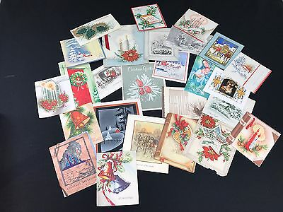 Lot Of 25 Vintage 50's Or 60's Era Christmas Cards Great For Repurposing