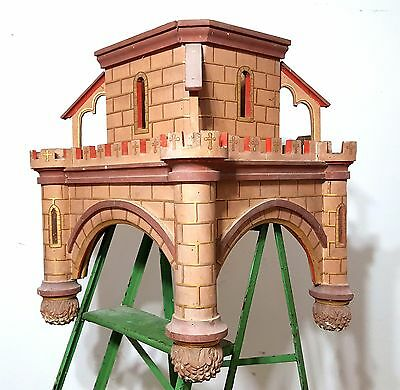 GOTHIC CHATEAU WALL SHELF ANTIQUE FRENCH WOOD PAINTED GILDED FURNITURE end 19 th