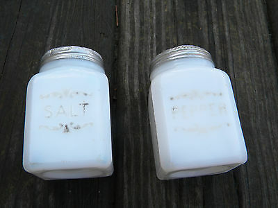 Vintage Retro White Milk Glass Kitchen Salt and Pepper Shakers