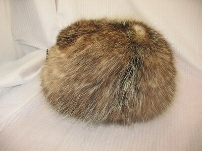 Vintage Genuine Brown White Fur Muff Winter Hand Warmer ~117D7