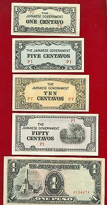 Japanese Occupation Currency Of The Philippines 1 Centavo To 1000 Pesos 10 Diffe
