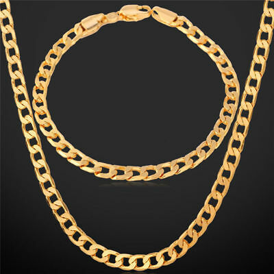 Sparkle Unisex 18k Yellow Gold Filled Necklace&Bracelet Chain Jewelry Set